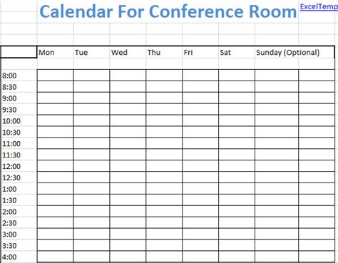 Weekly Excel Calendar For Conference Room Scheduling Conference Room Booking Template