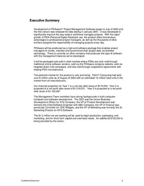 project executive summary template infinite imagine furthermore