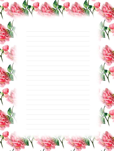 printable floral lined stationery money savers