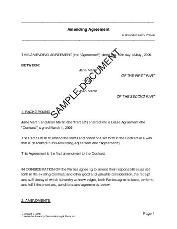 Contract Of Employment Amendment Letter Amending Agreement Canada Templates Agreements Contracts And Forms