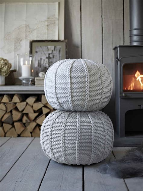 knitted poufs white knitted pouf grey pouf nordic house