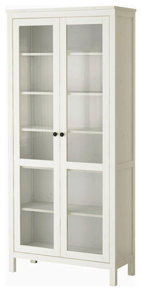 White Storage Cabinet With Glass Doors Hemnes Glass Door Cabinet White Stain Modern Storage Cabinets By Ikea