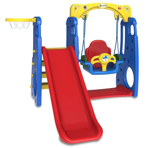 baby slide and swing set ruby 4 in 1 swing slide