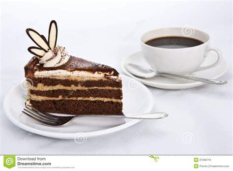Drei Schichten Schokoladen Kuchen Mit Kaffee Lizenzfreies