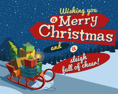 sleigh full  cheer  merry christmas wishes ecards