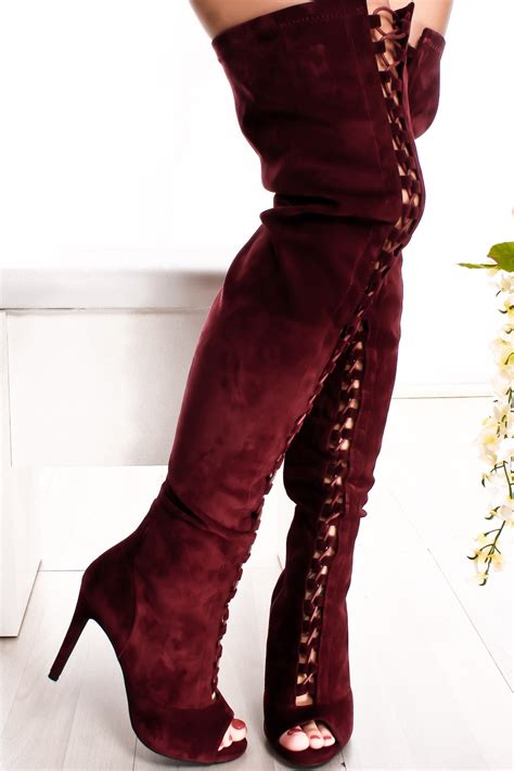 knee high burgundy boots burgundy suede lace up side zipper peep toe the knee