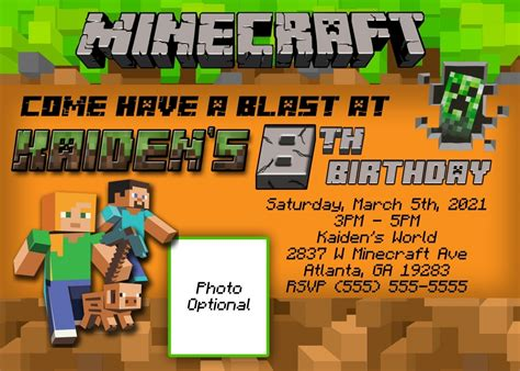 minecraft birthday invitation card template ideas for minecraft birthday invitations templates anouk