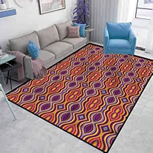 psychedelic rustic living room rug colorful oval shapes