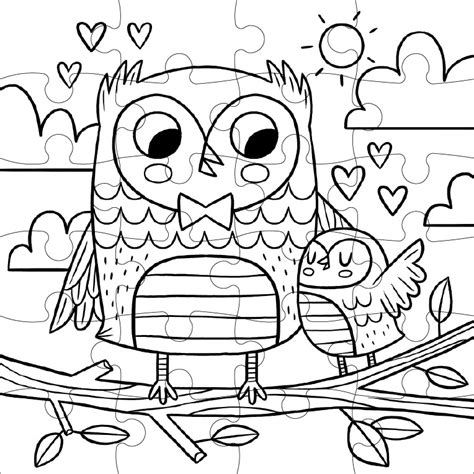 coloring puzzles sweet owls color in puzzle jigsaw puzzle puzzlewarehouse