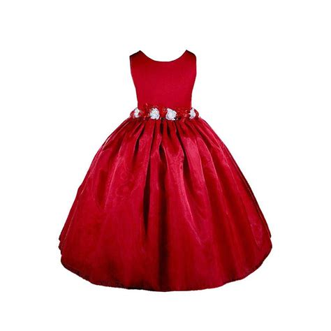 girls red christmas dress applique holiday frock with tree