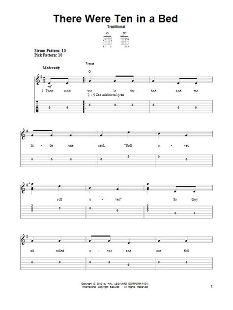 ten in the bed lyrics there were ten in a bed sheet music by traditional easy