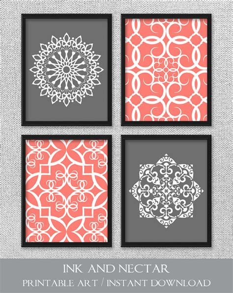 printable wall art for bedroom printable art set coral and gray art printable art bedroom