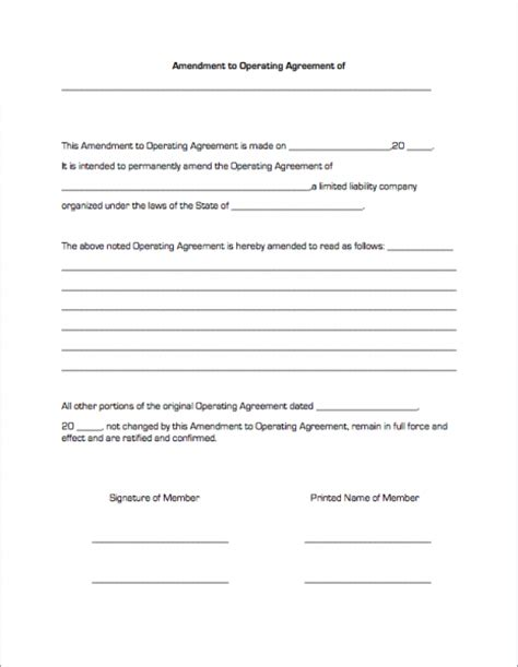 amendment agreement template amendment to operating agreement business forms