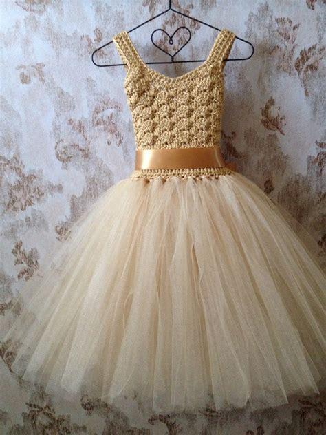 Dress Tutu gold flower tutu dress ankle length tutu dress boho by qt2t