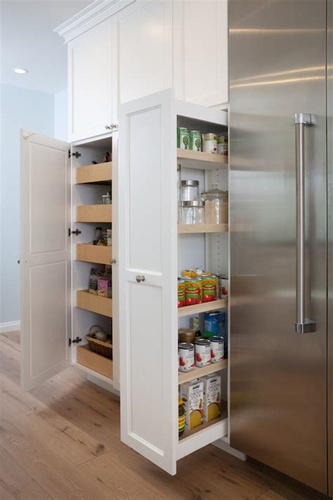 pull out pantry cabinets transitional kitchen