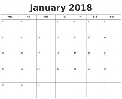 printable monthly calendar january january 2018 printable calendar