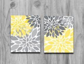 yellow gray flower petals burst canvas or print set home