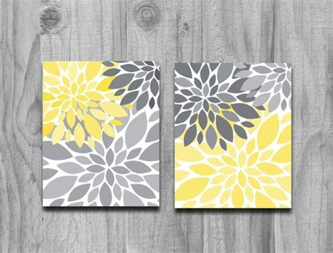 Grey And Yellow Wall Decor by Yellow Gray Flower Petals Burst Canvas Or Print Set Home