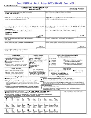 Nevada Bankruptcy Search Tmb Builders Bankruptcy Fill Printable Fillable Blank Pdffiller