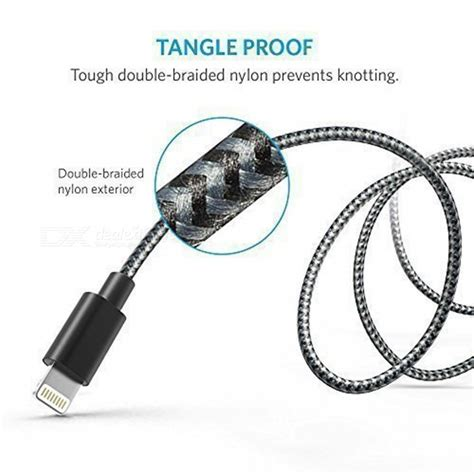 Original Anker A71146b1 Braided Lightning Cable 1 8m 6ft Go T19 75 anker 6ft braided usb cable with lightning connector