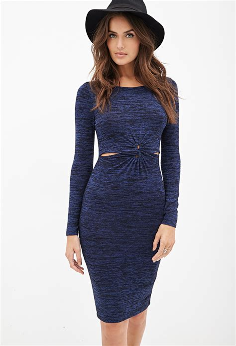 Dress With Cardigan 3 lyst forever 21 knotted sweater dress in blue