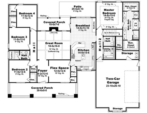 4 Bedroom House Plans 4 Bedroom House Floor Plan 1 Story House Plans Two Story 4 Bedrooms
