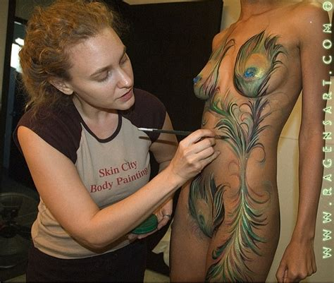 body canvas tattoo peacock feathers paint painting by ragen