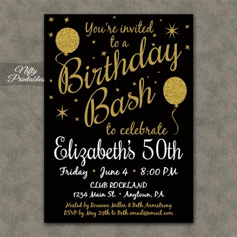 free 50th birthday invitations templates 50th birthday invitation printable 50 black gold glitter