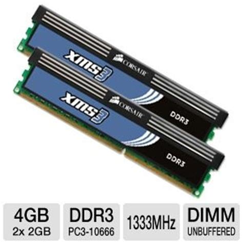 Ram 4gb Dual Channel Ddr3 corsair xms3 tw3x4g1333c9ag 4gb dual channel ddr3 ram pc10666 1333mhz 4096mb 2x 2048mb