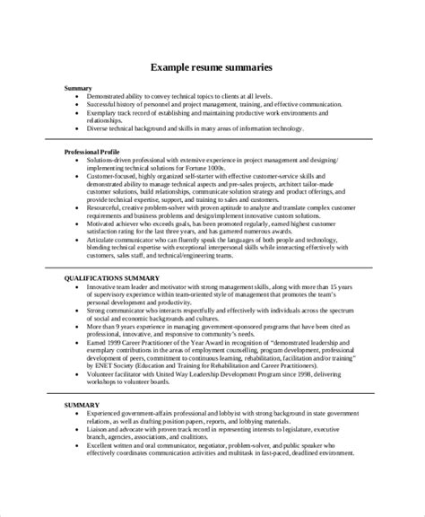 Resume Summary Example   8  Samples in PDF, Word
