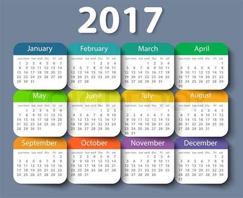 design calendar template 2017 calendar 2017 year vector design template eps10 stock