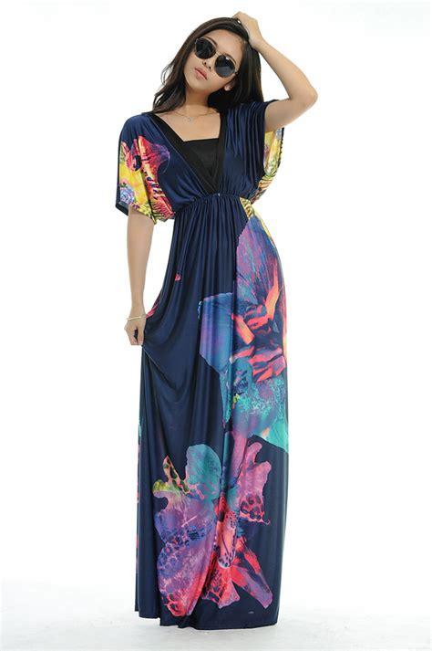 Yuan V Neck Maxi summer dress 2014 fashion v neck floral printing