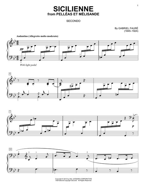 Sicilienne sheet music by Gabriel Fauré (Piano Duet – 77125)