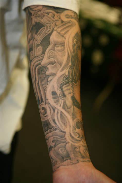 black and grey forearm tattoo designs left forearm aztec black grey