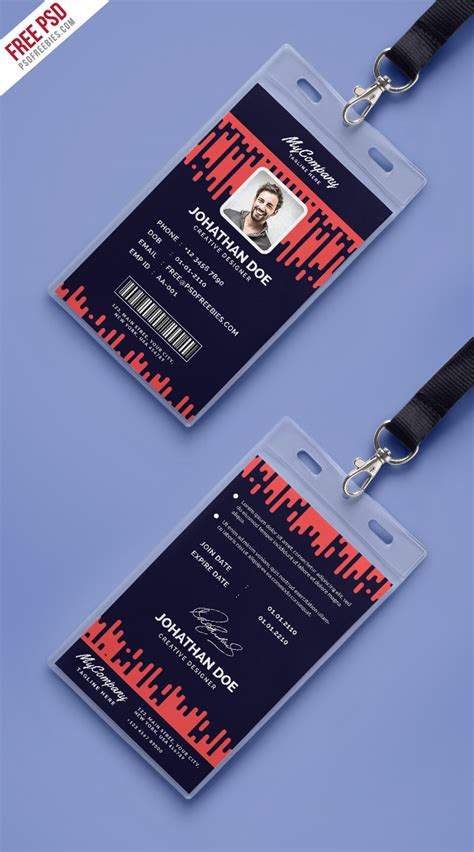 photo card template psd corporate company photo identity card template psd