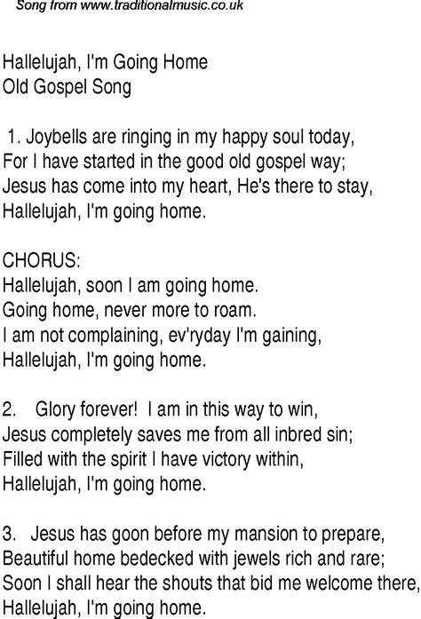 hallelujah i m going home christian gospel song lyrics