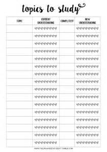 study checklist template free printables organizing free printables and school
