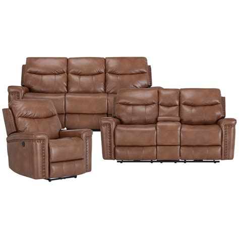 Brown Microfiber Reclining Sofa by City Furniture Wallace Medium Brown Microfiber Power