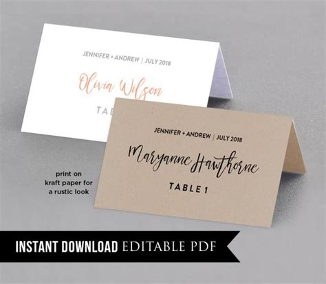 Rustic Place Cards Template by Place Card Template Instant Rustic Seating