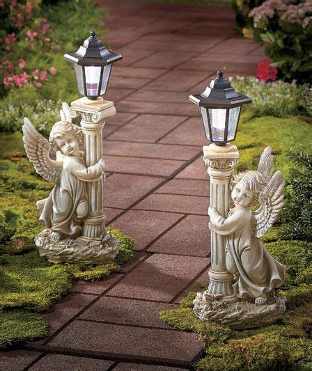 garden outdoor lantern solar landscaping lights set of 6 set of 2 solar garden lantern cherub statue lights