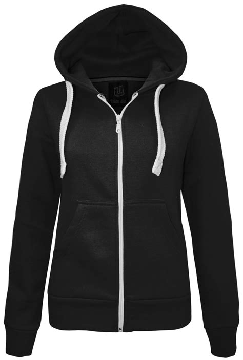 Plain Zip Detail Zip Jacket new womens plain zip hoodie sweatshirt fleece