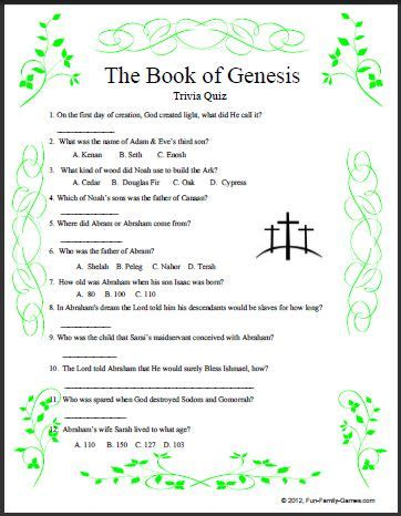 Our Book of Genesis Quiz deals only with that book.