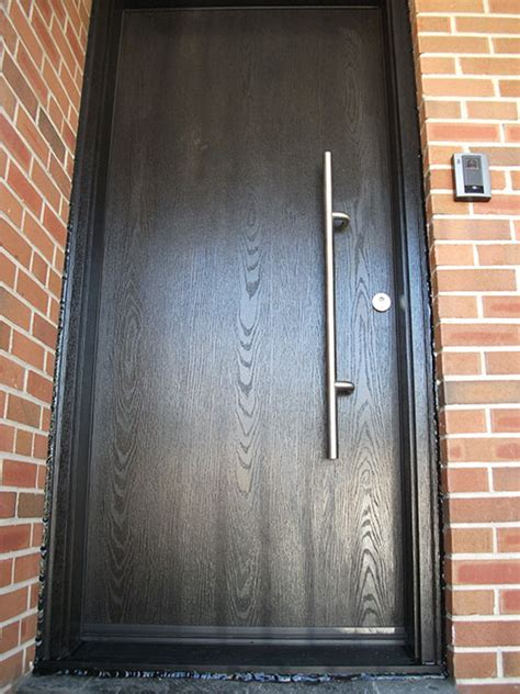 modern contemporary front entry wood grain single rustic door