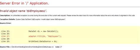 file layout definition error 118 20 exception error handling in asp net simplified