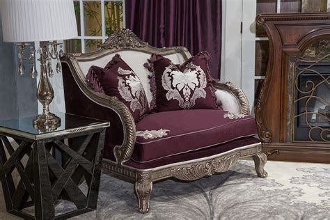 Michael Gold Furniture by Michael Amini Lisette Chair And Half Silver Gold Finish Fs