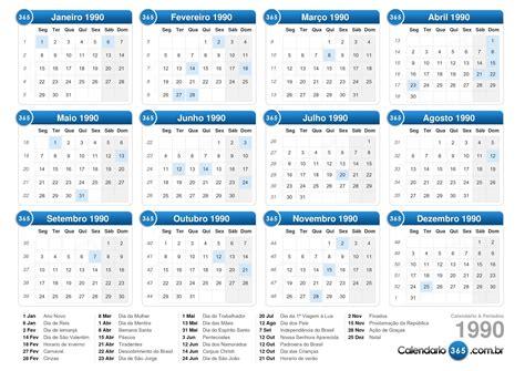 Calendario Ano 1990 Calend 225 1990