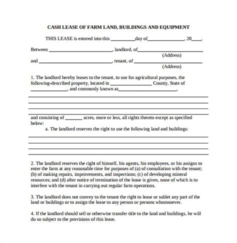 farm rental agreement template 15 land lease agreements sles exles format
