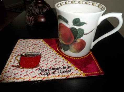 In The Hoop Mug Rug by Cup Of Java And Cup Of Chocolate Mug Mat Mug Rug In