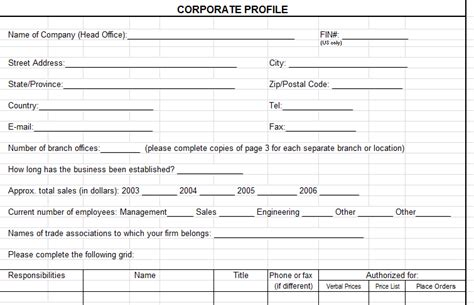 distributor profile template corporate profile template in microsoft excel