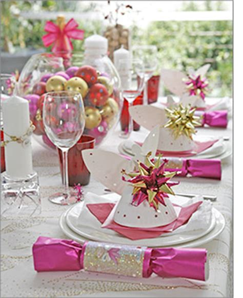 christmas table in pink christmas celebrate